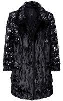 Anna Sui Sequined Faux Fur Coat - Lyst