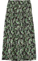 Marni Pleated Floralprint Silk Midi Skirt - Lyst