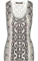 Roberto Cavalli Snake-print Cotton and Silk-blend Tank - Lyst