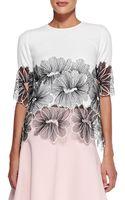 Lela Rose Half-sleeve Floral Lace Top - Lyst