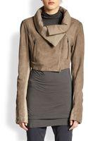 Donna Karan New York Cropped Jerseypaneled Suede Jacket - Lyst