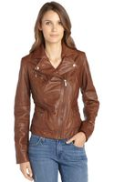 Cole Haan Saddle Leather Asymmetrical Zip Front Moto Jacket - Lyst