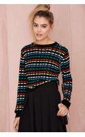 Nasty Gal Critical Digital Waffle-knit Sweater - Lyst