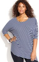 Inc International Concepts Plus Size Dolmansleeve Striped Asymmetrical Top - Lyst