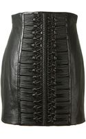 Balmain Black Leather Mini Skirt - Lyst