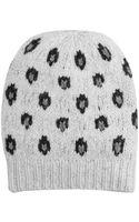 Autumn Cashmere Handknit Leopard Intarsia Hat - Lyst