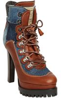 DSquared2 120mm Denim Leather Ankle Boots - Lyst