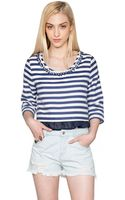 Pixie Market Loulou Striped Bejeweled Top - Lyst