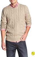 Banana Republic Factory Crew Neck Cable Sweater - Light Oatmeal Heather - Lyst