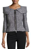 Michael Kors Zip-front Tweed Jacket - Lyst