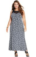 Vince Camuto Plus Size Illusionpanel Printed Maxi Dress - Lyst