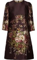 Dolce & Gabbana Printed Silk and Woolblend Mini Dress - Lyst