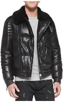 Ralph Lauren Black Label Leather Moto Jacket with Shearling Fur Collar - Lyst