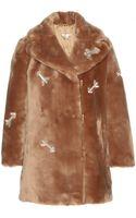 Carven Embellished Faux Fur Coat - Lyst