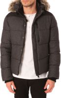 Schott Nyc Flannel Anthracite Nylon Down Jacket with Removable Hood - Lyst