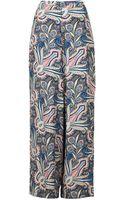Topshop Wide Leg Paisley Trousers Multi - Lyst