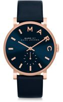 Marc By Marc Jacobs Baker Rose Goldtone Stainless Steel  Leather Strap Watchnavy - Lyst