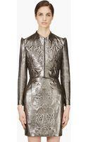 Iris Van Herpen Pewter Cropped Embossed Leather Jacket - Lyst