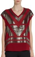 Saks Fifth Avenue Black Label Sequined V-neck Top - Lyst