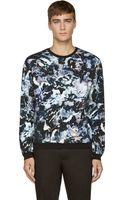 MSGM Navy Marble Print Sweatshirt - Lyst