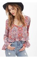 Forever 21 Abstract Print Ruffled Top - Lyst