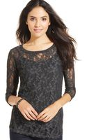 DKNY Threequartersleeve Lace Top - Lyst