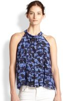 Rebecca Taylor Printed Silk Pleated Trapeze Top - Lyst