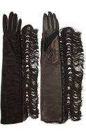 Lanvin Black Fringed Long Bimaterial Gloves - Lyst