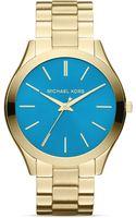Michael Kors Goldtone Blue Slim Runway Threehand Watch 42mm - Lyst
