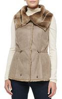 Alberto Makali Sueded Fabric Vest with Faux Fur Collar - Lyst