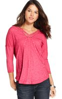 DKNY Vneck Lace Trim Top - Lyst