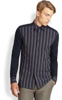 Richard Chai Striped Panel Sportshirt - Lyst
