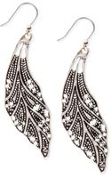 Lucky Brand Silver Tone Feather Earrings - Lyst