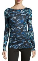 BCBGMAXAZRIA Abstract Print Jersey Boatneck Top - Lyst