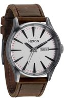 Nixon Sentry Leather Grey and Black Watch - Lyst