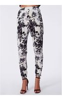 Missguided Aleisha Floral Silk Feel Tapered Trousers White - Lyst