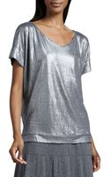 Eileen Fisher Shimmer Soft V-neck Top - Lyst