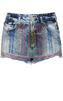 Topshop Womens Moto Folk Embroidered Hotpants Bleach Stone - Lyst