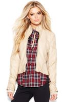 Guess Fauxleather Standcollar Moto Jacket - Lyst