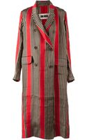Uma Wang Long Striped Double Breasted Coat - Lyst