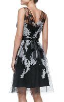 Rickie Freeman for Teri Jon Sleeveless Illusion Floral Cocktail Dress - Lyst