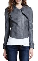 Cusp Faux-leather Shawl-collar Jacket Pewter Xs - Lyst