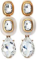 Oscar de la Renta Resin Crystal Clipon Earrings White - Lyst