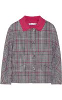 Oscar de la Renta Cropped Plaid Wool Jacket - Lyst