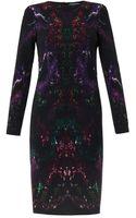 Alexander McQueen Mothprint Crepe Dress - Lyst
