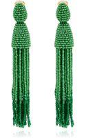 Oscar de la Renta Long Green Tassel Clipon Earrings - Lyst