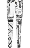 Versus  Anthony Vaccarello Printed Midrise Skinny Jeans - Lyst