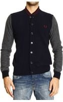 Fred Perry Sweater Lambswool Cardigan with Buttons and Contrast - Lyst