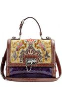 Dolce & Gabbana Monica Embroidered Leather and Snakeskin Tote - Lyst
