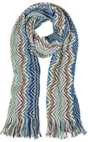 Missoni Zig Zag Wool Blend Fringed Womens Scarf - Lyst